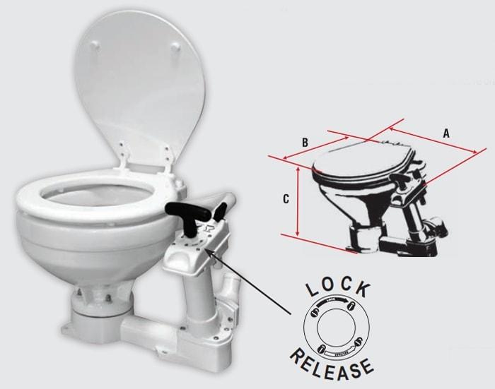 Afmetingen en details boot toilet met handpomp