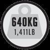 Maximaal gewicht van 640kg